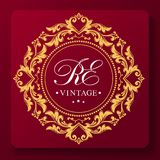 A unique graceful wedding monogram template. Golden leaf ornament. Originality and luxury. Place for text vector illustration