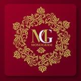 Decorative floral pattern. Leafy ornament. Vegetable Gold graceful frame. Heraldic symbols. stock illustration