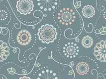Decorative Floral Seamless Pattern. Abstract wallpaper pattern with floral elements and dots in soft colors. Seamless ornament. Floral textile background. ( vector illustration