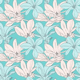Decorative floral seamless pattern with flowers jn. Seamless vector pattern with magnolia on blue background stock illustration