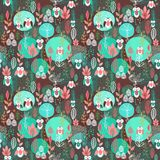 Decorative floral seamless pattern with owls Royalty Free Stock Photography