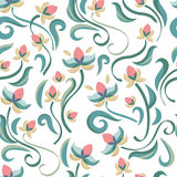 Decorative floral seamless pattern. Vector pastel color flowers. Stock Photos