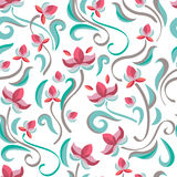 Decorative floral seamless pattern. Vector pastel color flowers. Stock Photo
