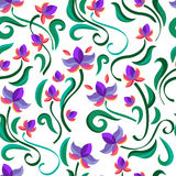 Decorative floral seamless pattern. Vector purple flowers. Moder Royalty Free Stock Images