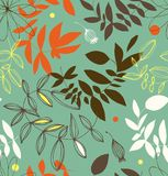Decorative floral seamless pattern. Vector summer background with leaves and branches. Royalty Free Stock Photo