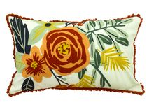 Decorative floral throw pillow. Isolated on white background stock photos