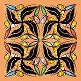 Decorative floral vector panel pattern. Hand drawn bright vintag. E ornaments. Abstract ornamental patterned background. Beautiful flowers, leaves, lines, swirls Stock Images