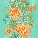 Decorative floral vertical seamless border Stock Image