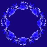 Decorative floral wreath in blue and white tones on a dark blue background. Stock Image