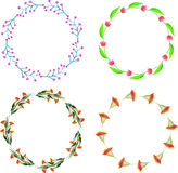Decorative floral wreathes set. Bright flowers. Design element for greeting cards, invitations, web Stock Images