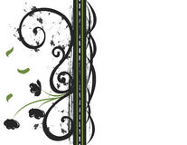 Decorative Flourish. A decorative flourish with grunge background, stylized flowers and falling leaves vector illustration