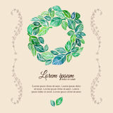 Decorative flourish template watercolor wreath Royalty Free Stock Photography
