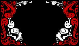 Decorative Flourishes Borders 2. A clip art illustration featuring a pair of decorative red and white flourish designs for use as borders on black backgrounds Stock Photos