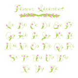 Decorative flower alphabet stock photos