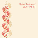 Decorative flower background with mehndi pattern  Stock Images