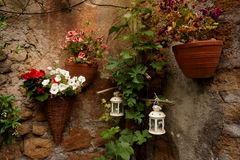 Decorative flower baskets Royalty Free Stock Photography