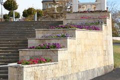 Decorative flower bed in Gagarin Boulevard. Pyatigorsk, Russia. Decorative flower bed at the Colonnade in Gagarin Boulevard in Pyatigorsk, Russia Stock Images