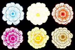 Decorative flower on black background Stock Photos