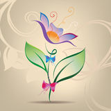 Decorative flower with a bow. Vector illustration Stock Image