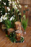 Decorative flower composition in wooden room Royalty Free Stock Photo