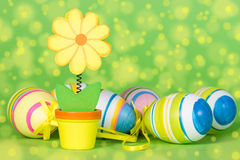Decorative flower and Easter eggs Stock Images