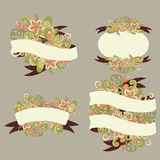 Decorative flower elements. Set of ribbons for your design. Vector flower doodle can be used for wedding Royalty Free Stock Photography