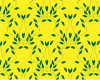 Many different green plants, young seedlings. Vector illustration isolated on yellow royalty free illustration