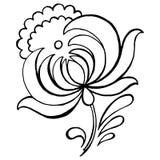 Decorative flower. Hand drawn, , black illustration in Ukrainian folk style royalty free illustration