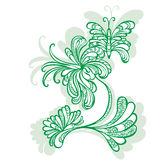 Decorative flower motif pattern butterflies Royalty Free Stock Images