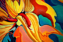 Decorative flower painting by oil on canvas, illustration Royalty Free Stock Photos