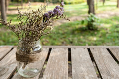 Decorative flower on wooden garden table Royalty Free Stock Photo