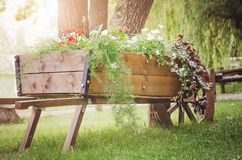 Decorative flowerbed with flowers from an old cart in the park. Beautiful summer background royalty free stock image