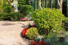 Decorative flowerbeds with flowers and bushes in landscape park. Decorative flowerbeds with flowers and bushes in the city`s landscape park royalty free stock photos
