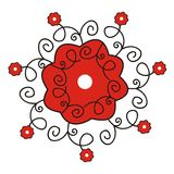 Decorative flowers. Red and black decorative flowers over white Vector Illustration
