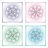 Decorative flowers. Abstract decorative flowers in four colors Royalty Free Illustration