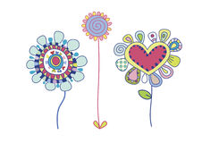 Decorative Flowers. Very colorful, decorative flowers, created in a loose style Stock Images