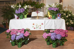 Decorative flowers on altar Royalty Free Stock Photo