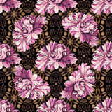 Decorative flowers with barocco pattern Stock Images