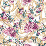 Decorative flowers  with barocco seamless pattern Royalty Free Stock Photo