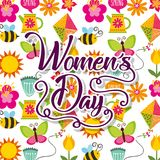 Decorative flowers bee spring butterfly sun womens day wallpaper. Vector illustration Royalty Free Stock Photo