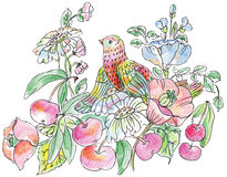 Decorative flowers, birds and apples Royalty Free Stock Images