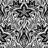 Decorative Flowers in Black White design Floral decorative ornate Background tattoo graphic design royalty free illustration