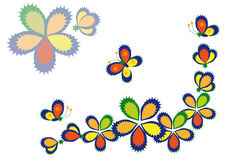 Decorative flowers and butterflies. Multi-colored stylized flowers and butterflies on a white background. Vignette Stock Photos