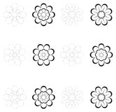 Decorative Flowers For Design Black And White Stock Photo