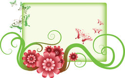 Decorative flowers and frame Royalty Free Stock Images