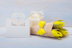 Decorative flowers and gift with a card for text Stock Photos