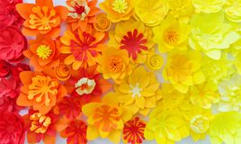 Decorative flowers made from craft paper on white background. Handwork. Spring Holiday Postcard stock photo