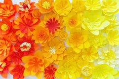 Decorative flowers made from craft paper on white background. Handwork. Spring Holiday Postcard royalty free stock images