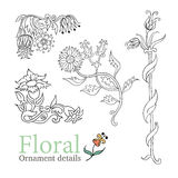 Decorative flowers ornamental vector set Royalty Free Stock Photo