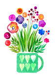Decorative flowers in a pot, Translucent overlying watercolor flower, Meadow flowers, celebration delicate watercolor flowers Stock Images